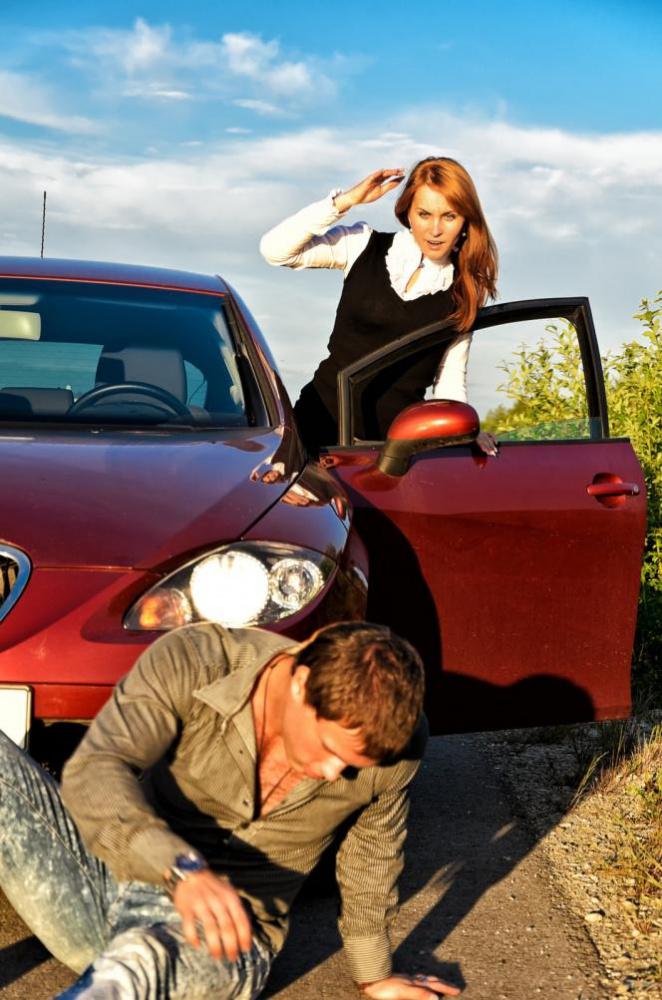 A woman driving her car knocked down a pedestrian