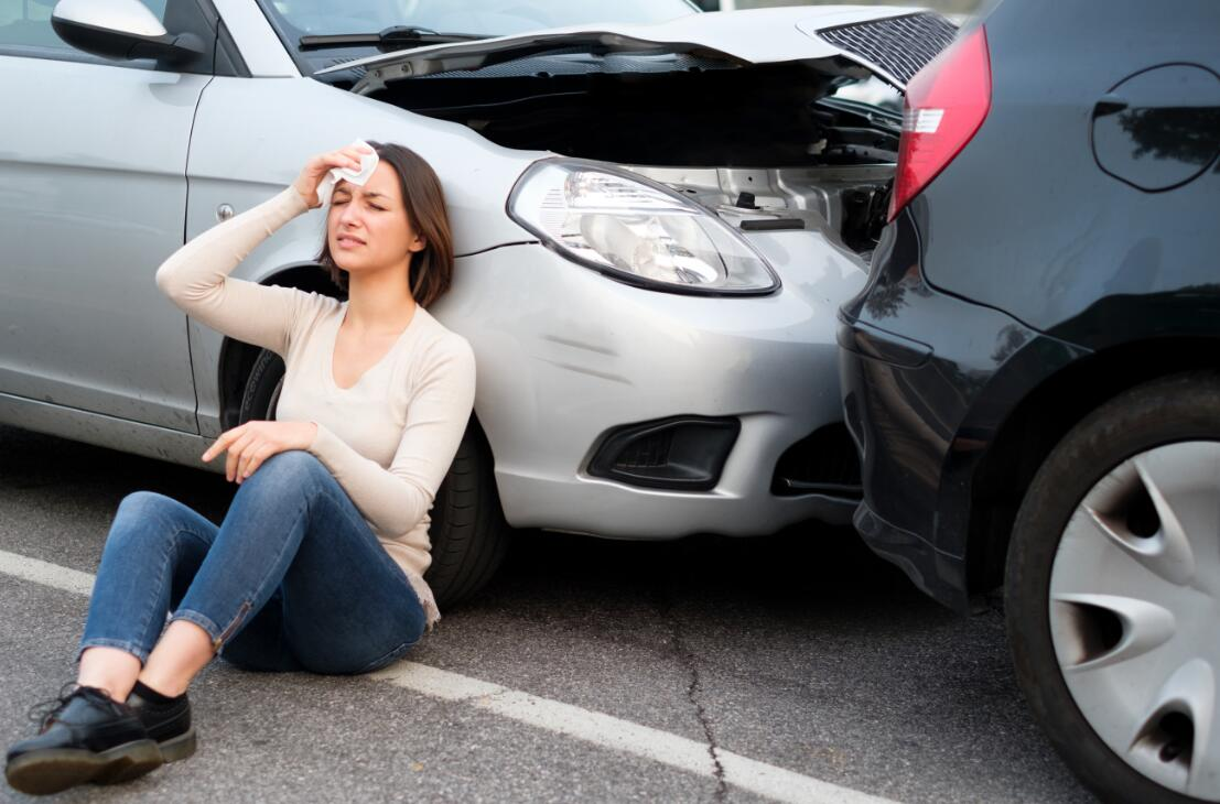 Woman after auto accident